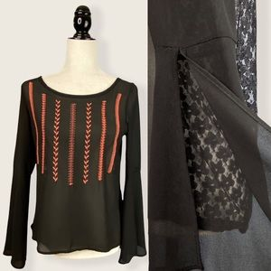 American Eagle Boho Embroidered Georgette Top S/M